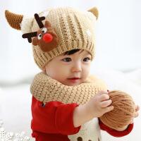 婴儿帽子冬天6-12个月韩国宝宝帽子秋冬男女儿童小孩加绒毛线帽子
