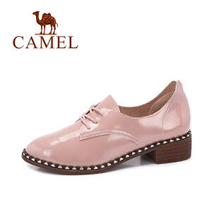 Camel/骆驼女鞋 秋季新款英伦复古粗跟单鞋 百搭时尚系带女鞋