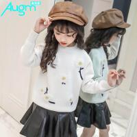 奥戈曼(Augm) 女童花朵毛衣秋冬款韩版时尚潮儿童装线衣加厚10打底衫女大童12岁