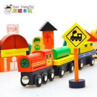 正品磁性城市交通情景交通标志积木 木制宝宝儿童益智玩具.