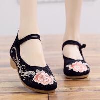 古风汉服鞋子配古装民族风复古坡跟刺绣花鞋女鞋舞蹈鞋