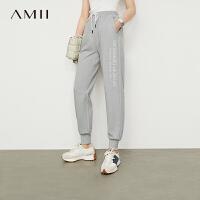 Amii极简高街ins潮运动休闲裤女2021夏季新款百搭束脚高腰直筒裤