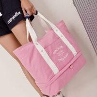帆布旅行包 女大容量单肩包韩版时尚购物包 可折叠手提妈咪折叠包 支持礼品卡支付