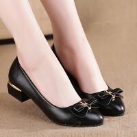 女士皮鞋浅口单鞋春夏中跟工作鞋低跟粗跟中年妈妈鞋子黑色白色 17-5黑色送袜子 偏小一码