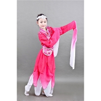 古装服装仙女惊鸿舞蹈服水袖舞古典汉服儿童舞台演出服 玫红色