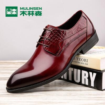 木林森男鞋  冬季新品男士商务皮鞋真皮系带正装鞋子英伦尖头男婚鞋05367009