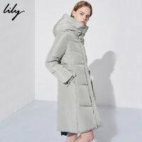 【不打烊价:629.7元】 Lily秋冬新款女装纯色修身高领加厚中长款羽绒服118410D1004