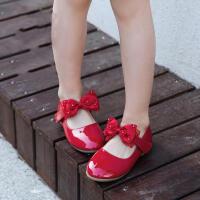 童鞋女童皮鞋2017春季新款蝴蝶结黑色儿童单鞋学生白色花童公主鞋
