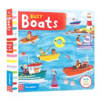 Busy系列 忙碌的小船 Books Busy Boats英文原版绘本 繁忙的船 推拉滑动机关操作纸板书 儿童英语启蒙趣