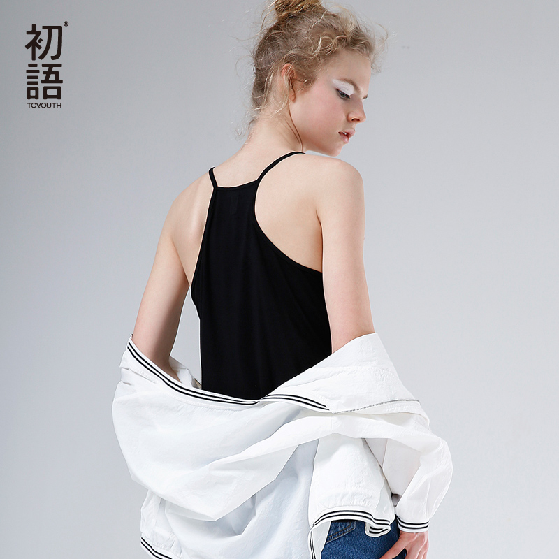 预售 初语夏季新款 双层视觉透视拼接简约纯色无袖吊带背心女夏打底