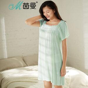 包邮 茵曼内衣 舒适外穿 蕾丝复古夏季显瘦长裙家居服睡裙女9872481020