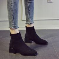 小短靴女2019新款秋季瘦瘦靴粗跟中跟踝靴平底短筒靴子女马丁靴潮