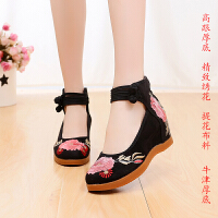 老北京布鞋7厘米高跟秀禾服红色婚鞋舞蹈绣花鞋女士百搭坡跟单鞋