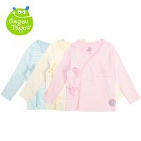 【88元选6件包邮】Gagou Tagou新宝宝纯棉素色条纹绑带上衣