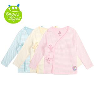 【加拿大童装】Gagou Tagou新宝宝纯棉素色条纹绑带上衣