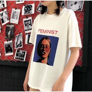 短袖T恤女欧美街拍头像字母印花体恤宽松显瘦上衣超火夏