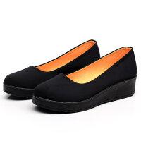 老北京布鞋女鞋单鞋软底浅口坡跟黑色工作鞋酒店高中高跟厚底 黑109 标准码