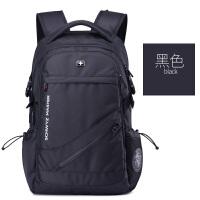 男士双肩包大容量时尚旅行背包休闲电脑包初中高中学生书包 黑色 大号