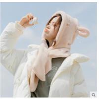 �W生保暖冬季少女�和�可�坌⌒芡枚�朵毛�q��巾��脖帽子一�w�杉�套