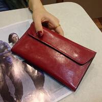 新款钱包女长款薄搭扣韩版女士钱包长款时尚简约翻盖钱夹