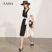 【2件3折248元,再叠90/70/30元礼券】Amii极简设计感小众撞色连衣裙2021年夏季新款V领显瘦露背A字裙女