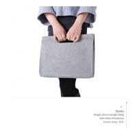 苹果笔记本电脑包女手提macbook13.3英寸air毛毡apple时尚pro定制 中灰色 收藏!送电源包