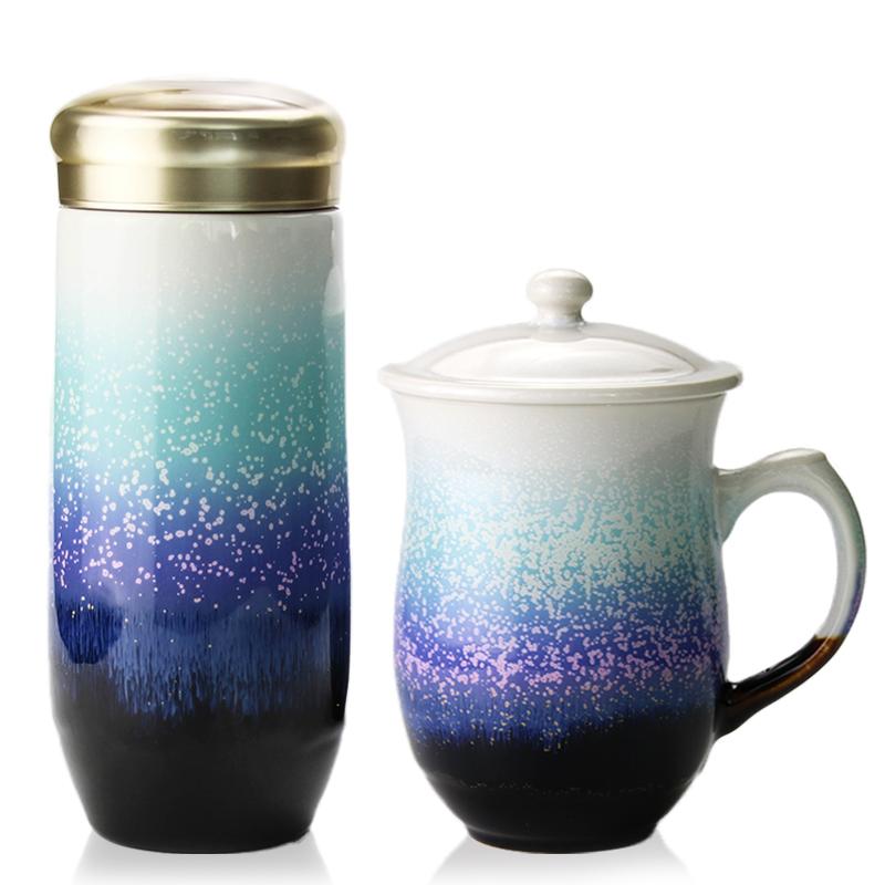 乾唐轩活瓷杯正品雪晶款礼盒套装高杯随身杯商务礼品推荐
