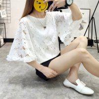 2018韩版百搭仙蕾丝上衣女夏大喇叭袖镂空白色雪纺衫女短袖 白色