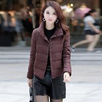 轻薄羽绒服女士短款2018新款韩版潮时尚小个子冬季外套欧货欧洲站 酒红色 3XL