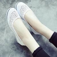 老北京布鞋女单鞋一字护士鞋夏季白色坡跟平底镂空透气美容师工作鞋网鞋女