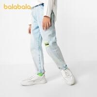 【3件35折价:70】巴拉巴拉男童裤子儿童春装童装中大童牛仔裤荧光潮酷个性
