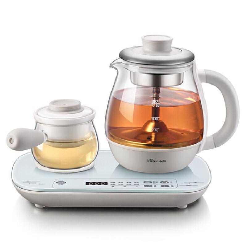 小熊(Bear)煮茶器 养生壶 全自动加厚玻璃蒸煮茶壶 小办公室蒸汽喷淋黑茶0.8升电茶壶 ZCQ-A08E1两种煮茶方式 保温温度随心调节