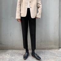 毛呢裤子女秋冬韩版西装裤宽松哈伦裤休闲大码萝卜裤九分直筒裤 XX