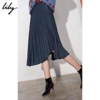 【6/4-6/8 一口价:149元】 Lily春女装时尚不规则百褶裙中长款半身裙118420C6104