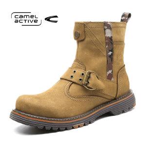 Camel Active/骆驼动感高帮马丁靴户外休闲棉靴工装英伦皮靴军靴