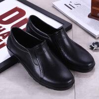 厨房专用防水鞋套鞋男潮夏低帮时尚短筒雨鞋休闲防滑工作雨靴胶鞋 黑色