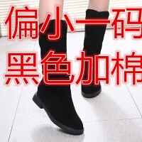 长靴春秋新款内增高靴子女高筒增高长靴马丁靴绒磨砂圆头女鞋