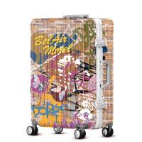 2018新款行李箱万向轮登机箱20寸 男女密码箱个性涂鸦拉杆箱