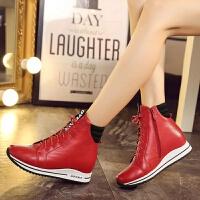 娜箐箐冬新款休闲牛皮坡高跟防水台短筒靴女鞋真皮内增高女靴
