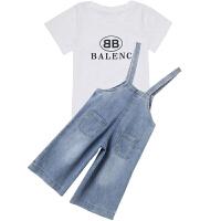 女童牛仔背带裤套装夏季2018新款韩版阔腿裤两件套儿童洋气夏装潮 白色 t恤+裤子