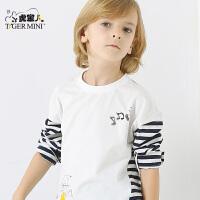 小虎宝儿童装男童纯棉打底衫 中大童薄款长袖t恤2017秋季新款潮