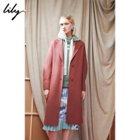 【不打烊价:617.7元】 Lily春秋新款女装橡皮红双面呢系带中长款羊毛大衣118430F1556