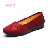 老北京布鞋女单鞋春秋季平跟软底防滑工作鞋女黑色平底圆头休闲鞋 红色 742