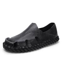 包头越南沙滩鞋男士皮凉鞋休闲鞋子2019夏季新款上班缝线防滑软底