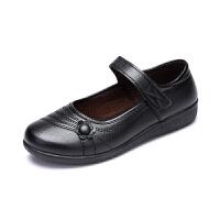 春秋新品中老年妈妈鞋平跟女鞋平底单鞋圆头软底老人工作皮鞋 黑色 一朵花