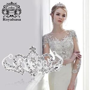 皇家莎莎新娘头饰公主盘发梳仿水晶皇冠发饰新娘皇冠饰品刘海插梳