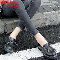 乌龟先森 小皮鞋 女士冬季新款鞋子英伦风粗跟短靴子女式流苏系带复古学生女鞋