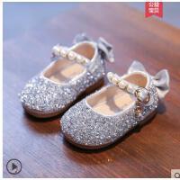 女童女宝宝鞋子小童水晶鞋小皮鞋软底婴儿小皮鞋秋冬款儿童公主鞋