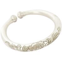 足银手镯女 手工素银圆柱牡丹银镯子 贵族银饰品