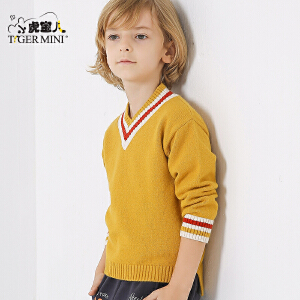 小虎宝儿童装男童毛衣套头 秋冬款儿童针织衫中大童2018春季新品